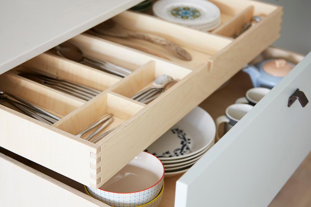 CNC cut Birch Plywood dovetail drawer detail