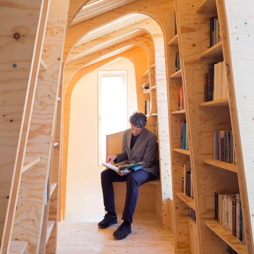 CNC cut WISA Spruce plywood interior designed by Arboreal Architects