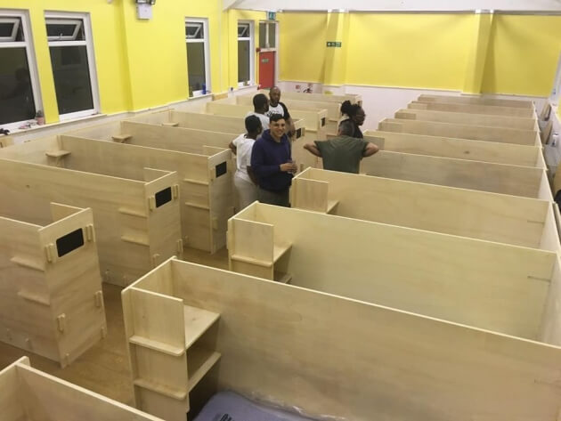 Emergency plywood beds for the Salvation Army